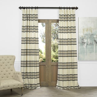 Exclusive Fabrics Horizontal Stripe Jacquard Curtain Panel