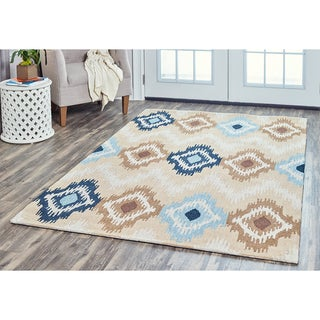 Arden Loft Hand-tufted Beige Fractured Ikat River Hill Collection Wool Area Rug (9' x 12')