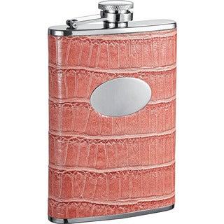 Visol Merveilleux Pink Crocodile Pattern Liquor Flask - 8 ounces