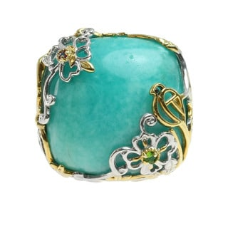 Michael Valitutti Flower Amazonite, Chrome Diopside and Pink Sapphire Palladium Silver Ring