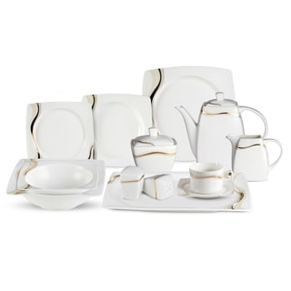 Lorren Home Trend Dora 57-Piece Bone China Dinnerware Set (Service for 8)  sc 1 st  Overstock & Formal Dinnerware For Less | Overstock