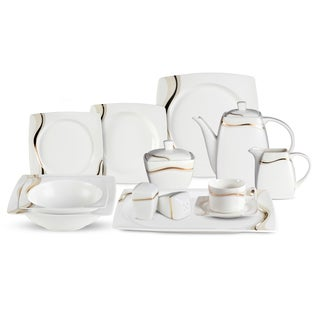 lorren home trend dora 57piece bone china dinnerware set service for 8
