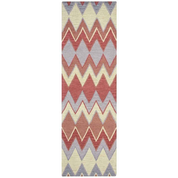 """Arden Loft Hand-tufted Natural Chevron River Hill Collection Wool Area Rug (2'6 x 8') - 2'6"""" x 8'"""