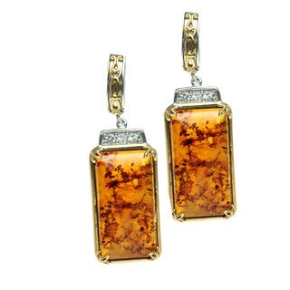 Michael Valitutti Amber and White Topaz Palladium Silver Dangle Earrings