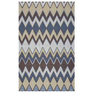 Arden Loft Hand-tufted Grey Chevron River Hill Collection Wool Area Rug (2'6 x 8')