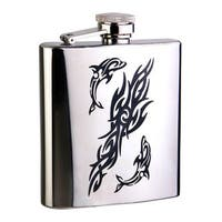 Visol Dolphin Mirror Stainless Steel Liquor Flask - 6 ounces