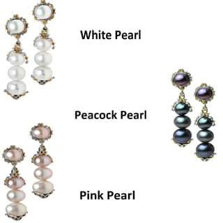 Michael Valitutti Palladium Silver & Pear Dangle Earrings (6.5mm)|https://ak1.ostkcdn.com/images/products/10587356/P17661938.jpg?impolicy=medium