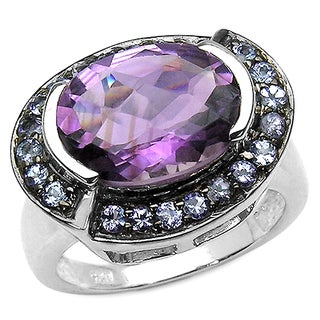 Olivia Leone Sterling Silver 5 3/5ct Amethyst and Tanzanite Ring