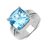 Olivia Leone Sterling Silver 7 1/2ct Swiss Blue Topaz Ring