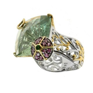 Michael Valitutti Palladium Silver Champagne cut Green Amethyst, Pink Sapphire and Chrome Diopside Ring
