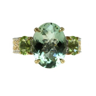 Michael Valitutti Palladium Silver Check Top Green Amethyst and Oval Peridot Ring