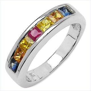 Olivia Leone Sterling Silver 1 1/4ct Multi-colored Sapphire Ring
