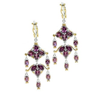 One-of-a-kind Michael Valitutti Rhodolite Garnet Palladium Silver Dangle Earrings