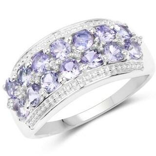 Olivia Leone Sterling Silver 1 1/2ct Tanzanite and White Topaz Ring