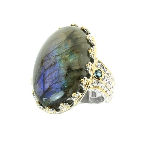 Michael Valitutti Palladium Silver Labradorite and London Blue Topaz Ring
