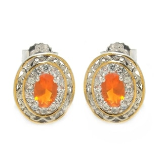 Michael Valitutti Palladium Silver Orange Opal and White Zicron Earrings