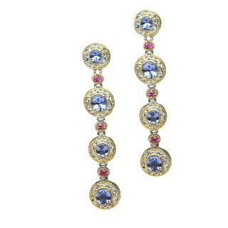 Michael Valitutti Palladium Silver Tanzanite and Pink Sapphire Earrings