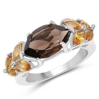 Malaika Sterling Silver 2 3/5ct Smoky Topaz and Citrine Ring