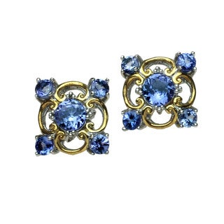 Michael Valitutti Palladium Silver and Tanzanite Earrings