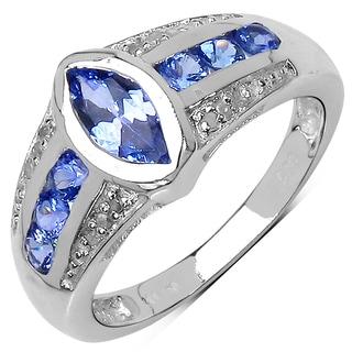 Malaika Sterling Silver 1ct Tanzanite and White Topaz Ring