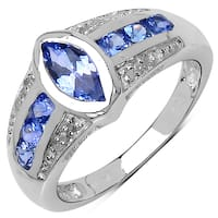 Malaika Sterling Silver 1ct Tanzanite and White Topaz Ring - Blue