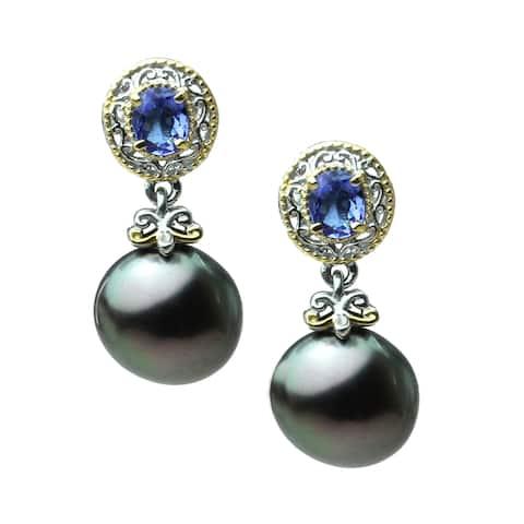 Michael Valitutti Pall. Silver Tahitian Pearl & Tanzanite dangle Earrings (10mm)