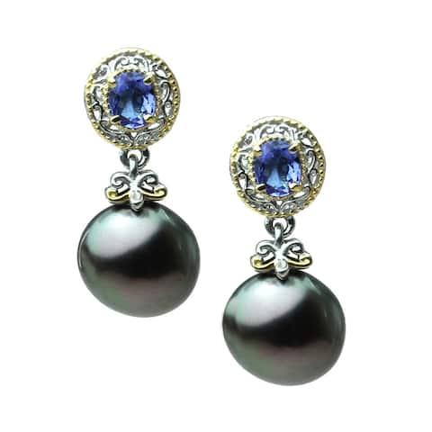 Gems en Vogue Pall. Silver Tahitian Pearl & Tanzanite dangle Earrings (10mm)