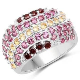 Olivia Leone Sterling Silver 2 3/8ct Garnet Citrine and Rhodolite Ring