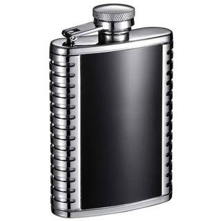 Visol Astaire Black and Stainless Steel Liquor Flask - 3 ounces