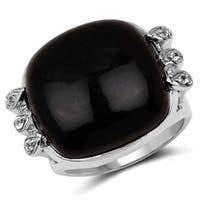 Olivia Leone Sterling Silver 14ct Black Onyx and White Topaz Ring