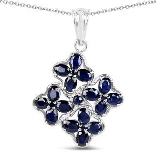 Olivia Leone Sterling Silver 3 3/4ct Blue Sapphire Pendant