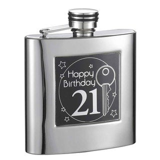 Visol Twenty First Birthday Stainless Steel Liquor Flask - 6 ounces