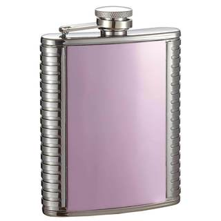 Visol Mika Pink and Stainless Steel Liquor Flask - 8 ounces - Pink/Silver