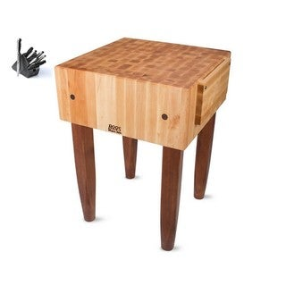 John Boos 24-inch Cherry Stain Butcher Block Table with Casters and J.A. Henckels 13-piece Knife Set