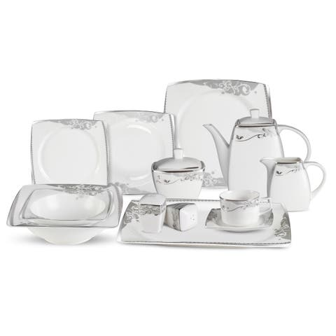 Lorren Home Trend 57-Piece Bone China Dinnerware Set (Service for 8)