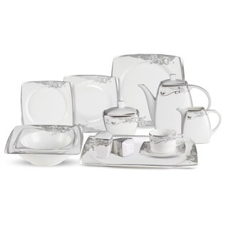 Lorren Home Trend 57-Piece Bone China Dinnerware Set (Service for 8)