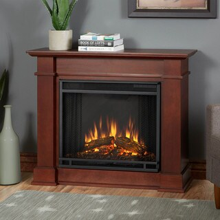Real Flame Devin Dark Espresso 36.3 in. W x 11 in. D x 30.4 in. H Electric Fireplace