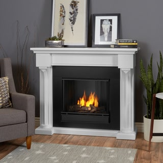 Real Flame Verona White Oak 48 in. L x 14.5 in. D x 39.9 in. H Gel Fuel Fireplace