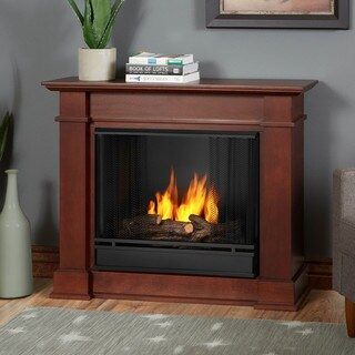 Real Flame Devin Dark Espresso 36.3 in. W x 11 in. D x 30.4 H Gel Fuel Fireplace