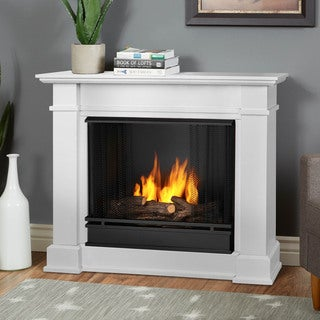 Real Flame Devin White 36.3 in. W x 11 in. D x 30.4 in. H Gel Fuel Fireplace