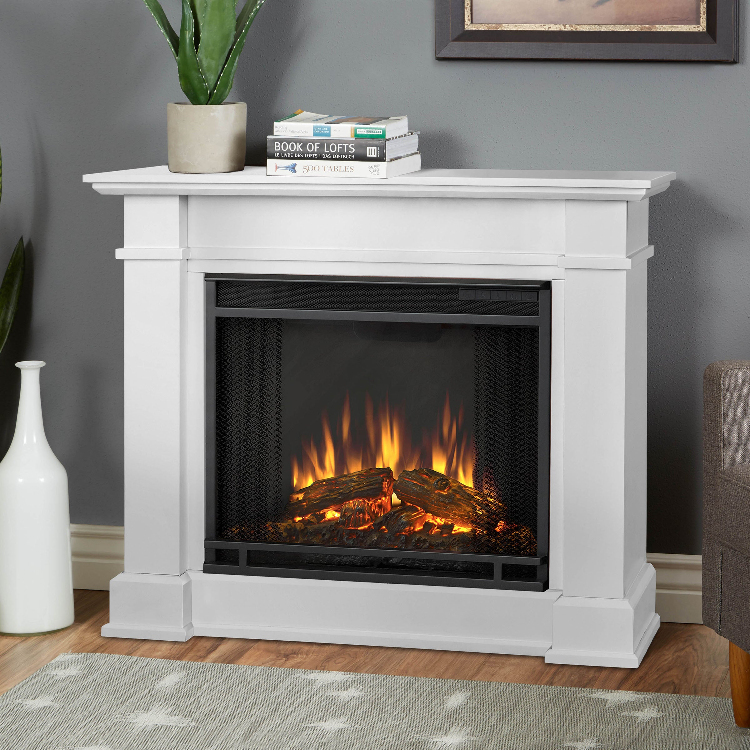 Real Flame Devin White 36.3 in. W x 11 in. D x 30.4 in. H...