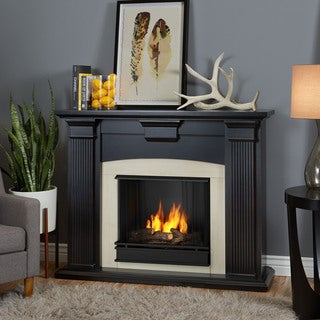 Real Flame Adelaide Blackwash 51 in. L x 13.1 in. D x 39 in. H Gel Fuel Fireplace