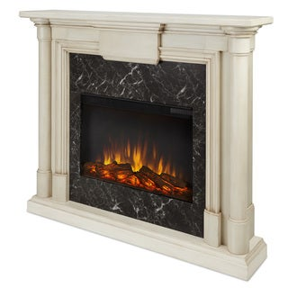 Real Flame Maxwell Whitewash 47.6 in. L x 9.5 in. W x 40 in. H Electric Fireplace