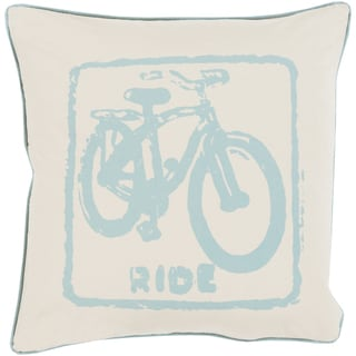 Decorative Delbert Bicycle Printed 22-inch Down or Polyester Filled Throw Pillow