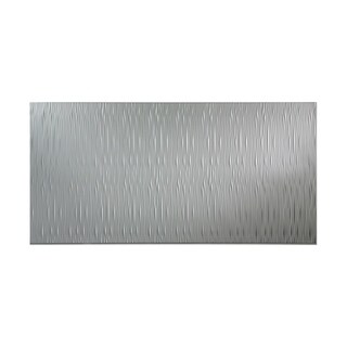 Fasade Waves Vertical Argent Silver 4-foot x 8-foot Wall Panel