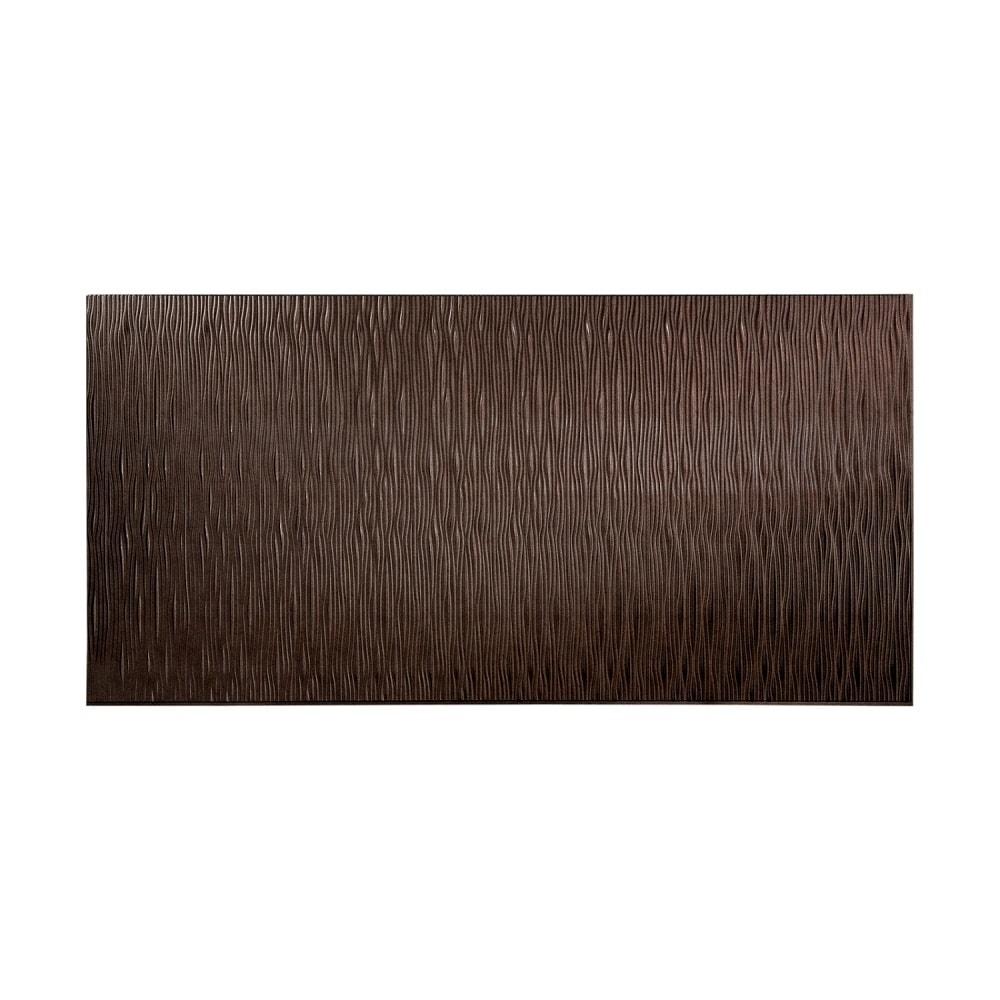 Fasade Waves Vertical Smoked Pewter 4-foot x 8-foot Wall Panel (4 x 8)