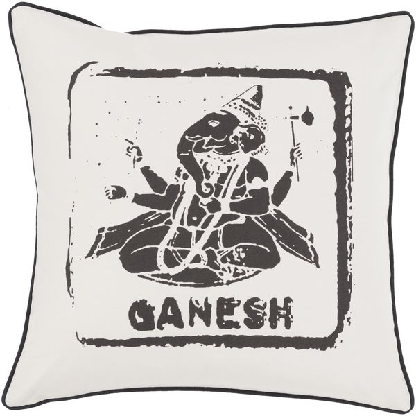 Decorative Brenna 22-inch Shri Ganesh Feather Down or Polyester Filled Printed Pillow