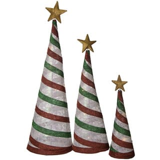 glittering snowflake fabric lantern peppermint cone trees set of 3