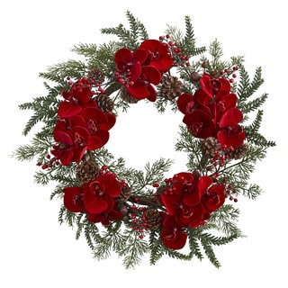 22-inch Orchid, Berry & Pine Holiday Wreath