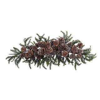 28-inch Iced Pine Cone Swag